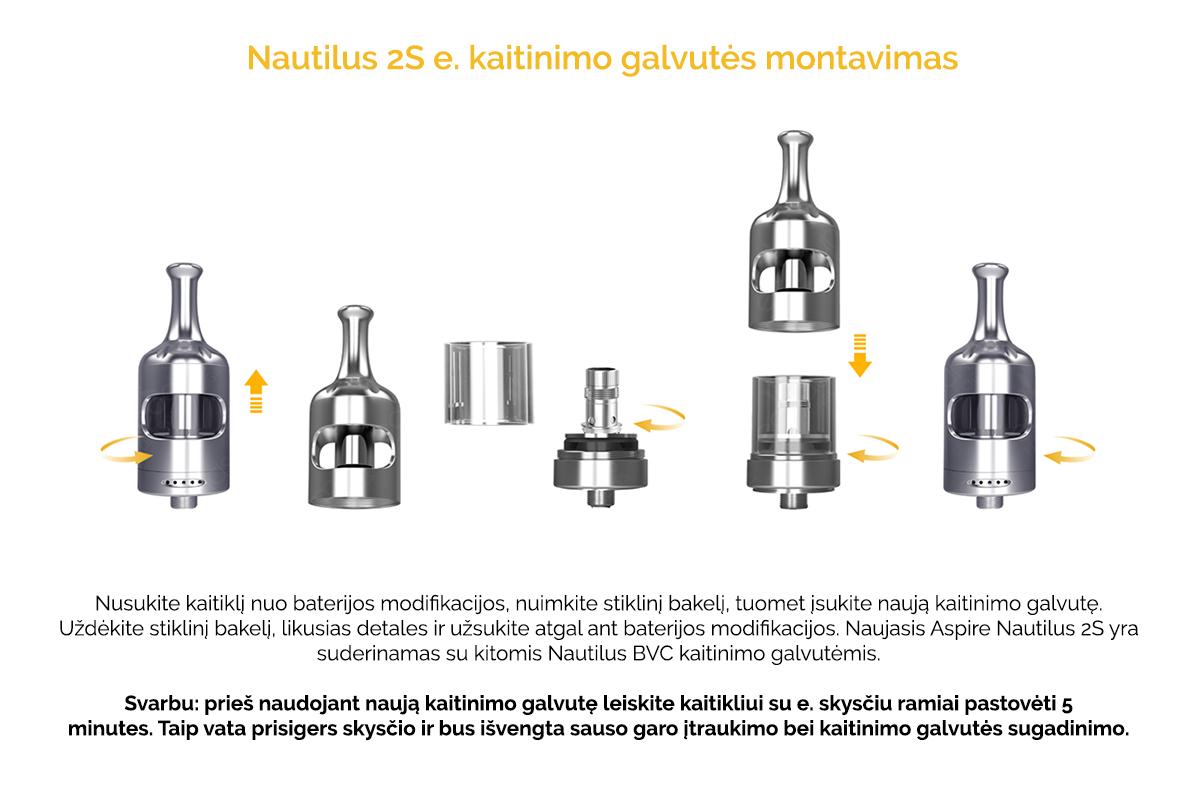 Aspire Nautilus 2S - Kaitinimo galvutės montavimas