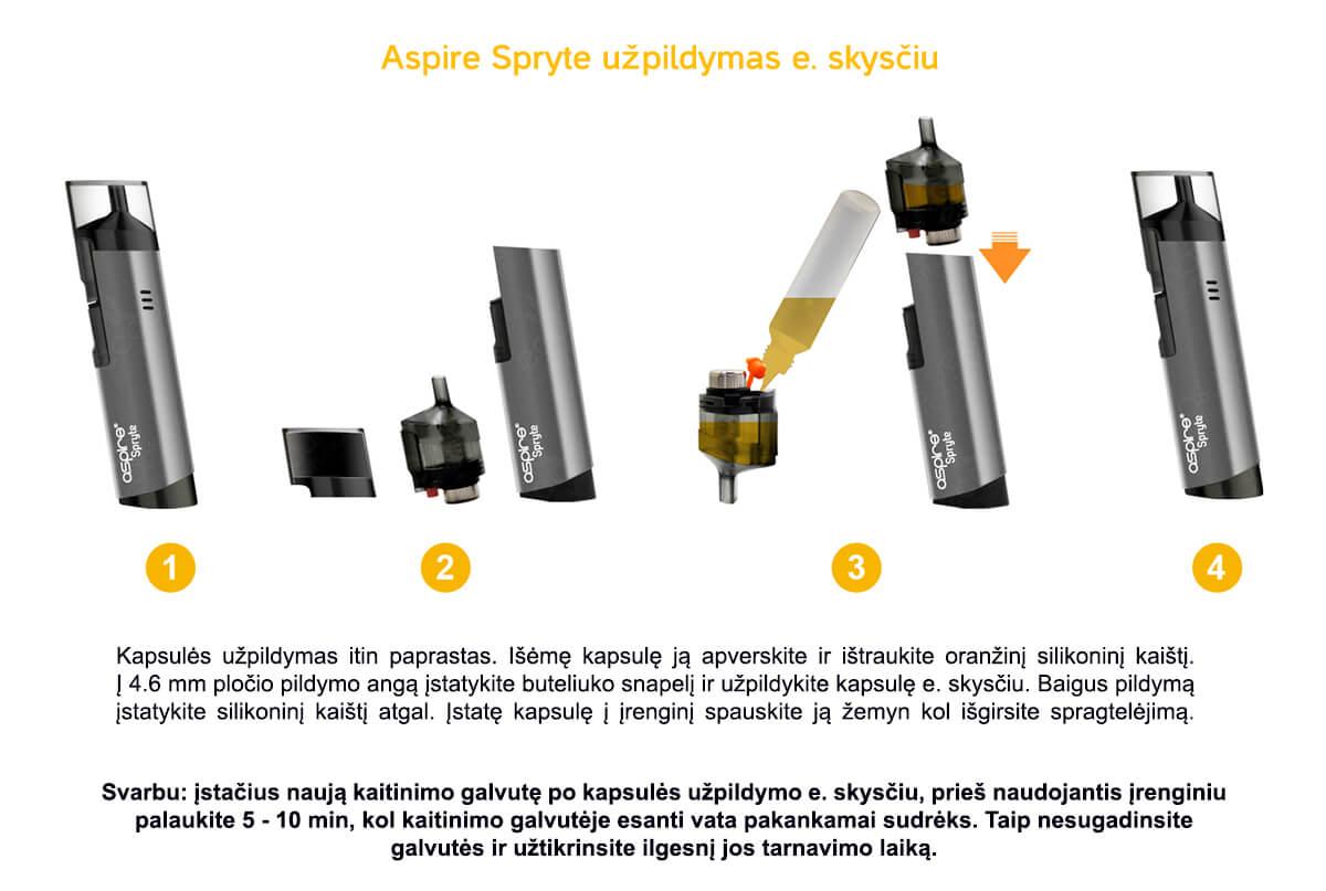 Aspire Spryte - Kapsulės užpildymas