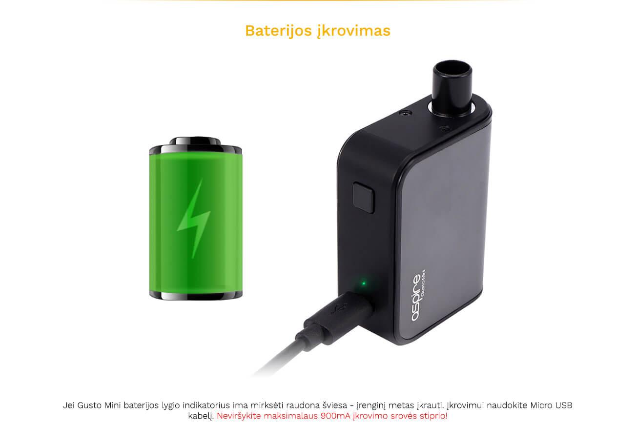 Aspire Gusto Mini baterijos įkrovimas