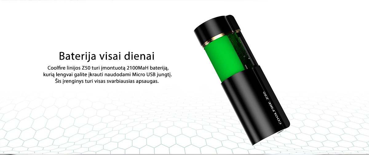 Innokin CoolFire Z50 baterijos modifikacija bei Zlide kaitiklis